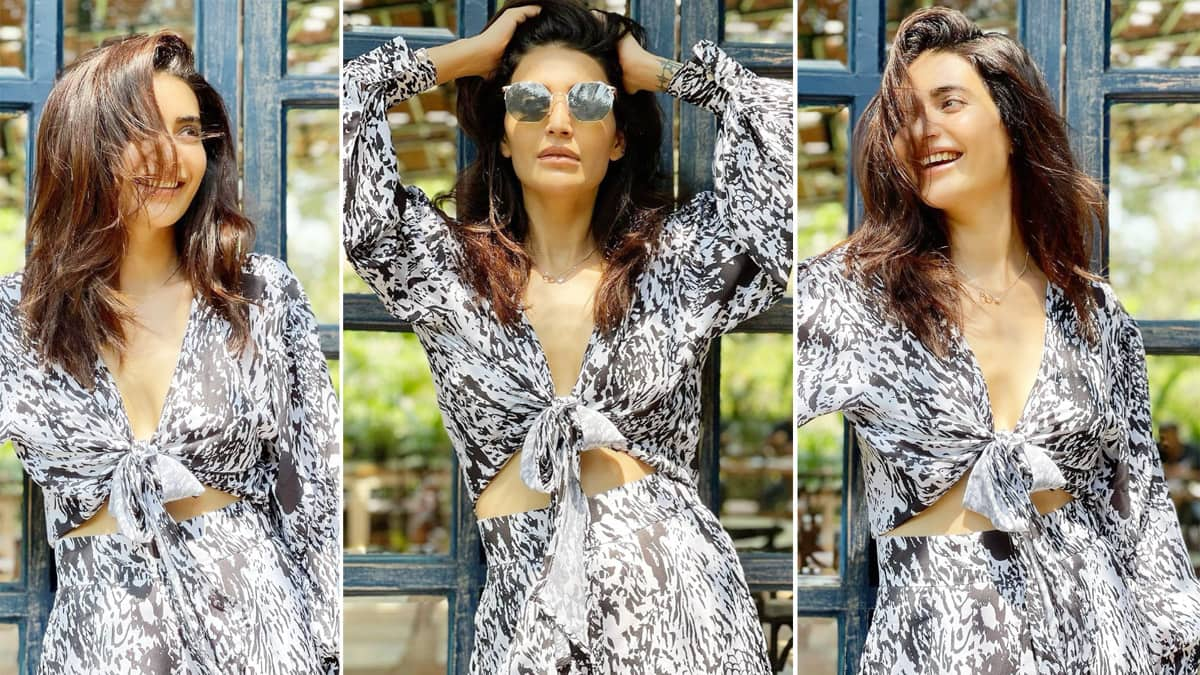 Karishma Tanna in a black white animal print co ord set