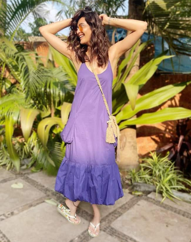 Karishma Tanna Gives Out Summer Vibes in Plunging Neckline Purple Dress    See Hot Photos