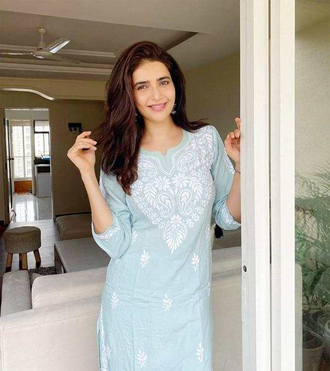 Karishma Tanna Looks Gorgeous in Blue Chikangari Suit