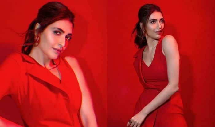 Karishma Tanna Looks Hot in Sexy Red Jumpsuit