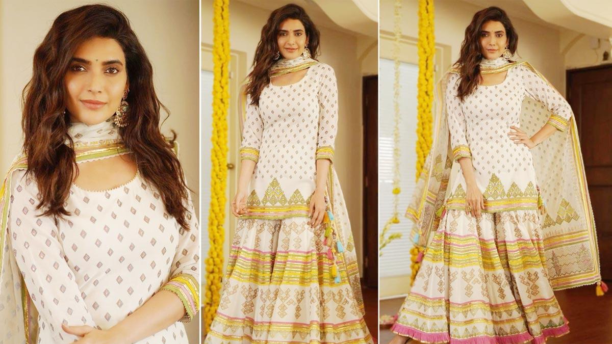 Karishma Tanna looks so graceful in her sharara set as she attends Ganpati celebrations around