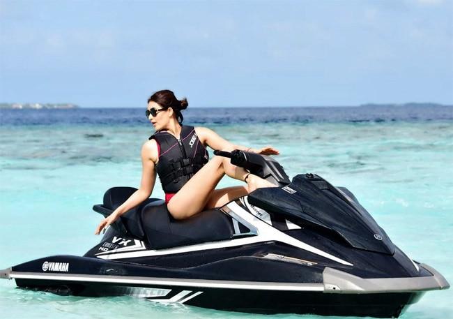 Karishma Tanna Rides Jet Ski in Maldives
