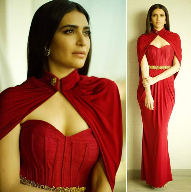 Karishma Tanna Stuns in Red Dress And Cape