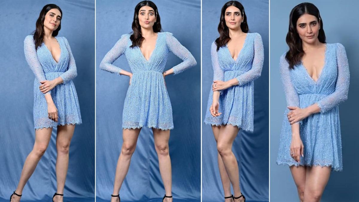 Karishma Tanna Wears a Blue Shimmery Dress For a New Photoshoot