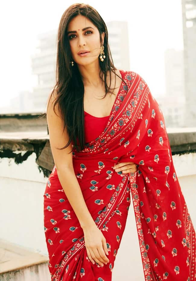 Katrina Kaif Flaunts Her Perfect Curves in Gorgeous Red Saree