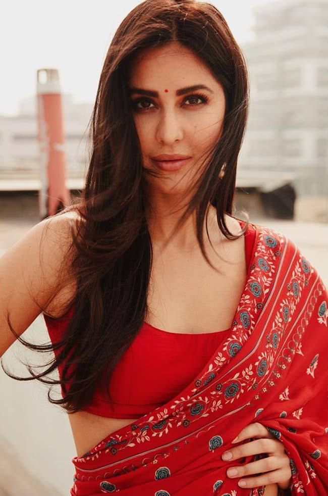 Katrina Kaif Red Hot Saree Look