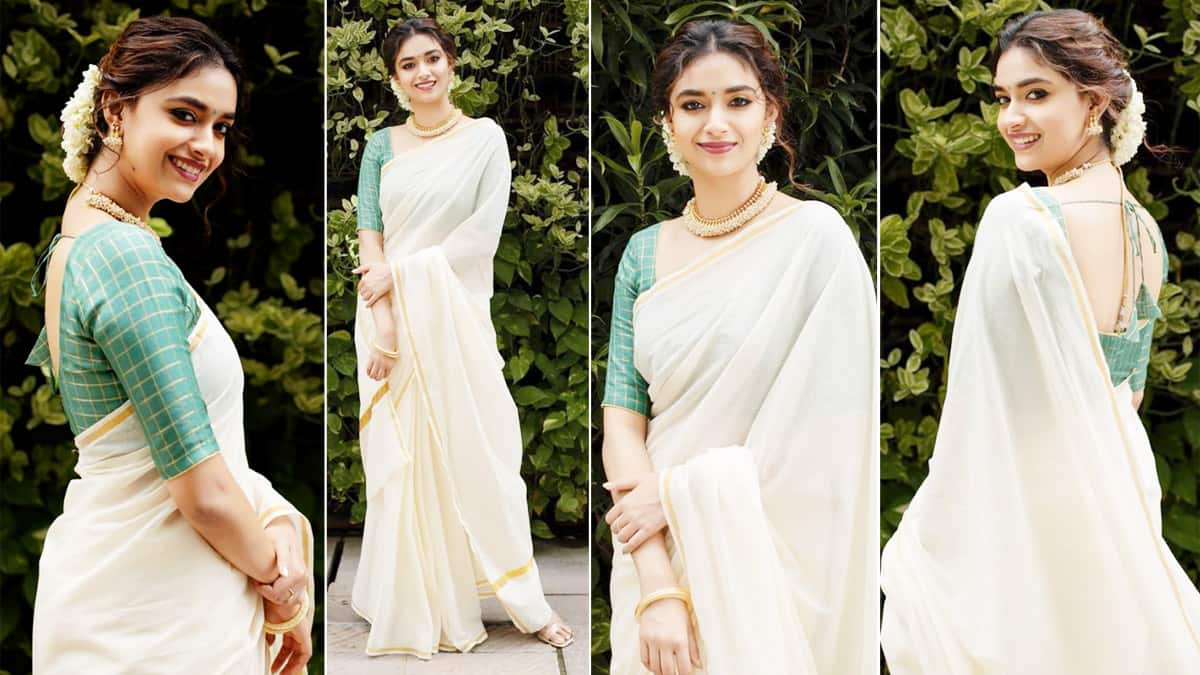 Keerthy Suresh is a Sight to Behold in Traditional White Saree With a Green Blouse