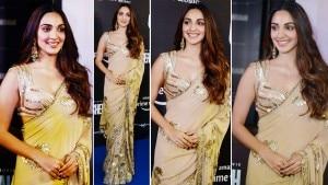 Kiara Advani Flaunts Her Stunning Figure in a Beige Saree as She Attends Shershaah Screening With Sidharth Malhotra | See Pics