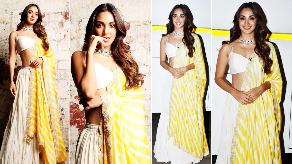 Kiara Advani mesmerises again in a white lehenga and yellow dupatta