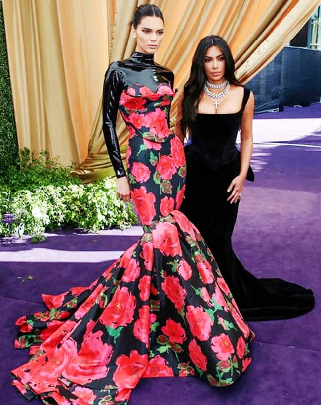 Kim Kardashian and Kendall Jenner at 71st Emmys
