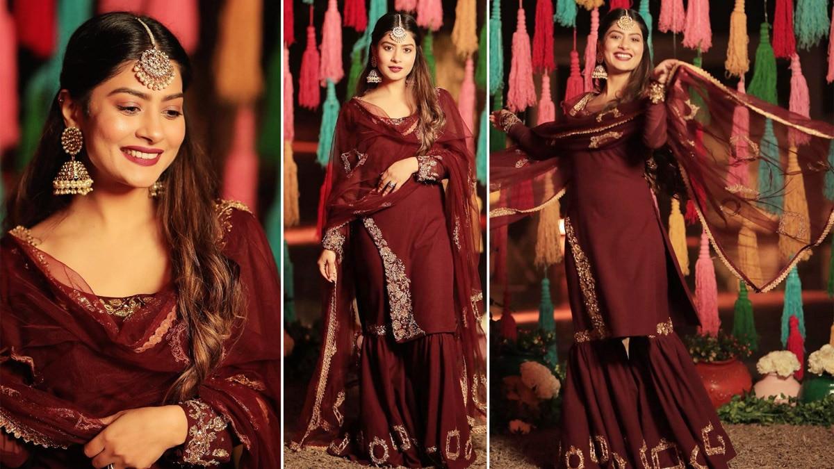 Krishna Mukherjee Looks Gorgeous in a Wine Coloured Ethnic Wear