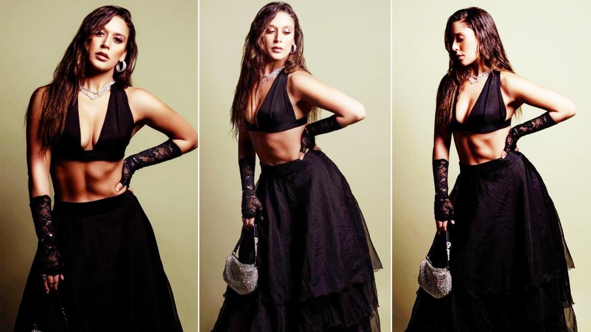 Krishna Shroff Raises The Heat in All Black Look  Flaunts Washboard Abs     HOT Photos