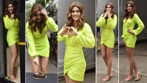 Kriti Sanon Looks Smoking Hot In Little Neon Dress For Mimi Promotions, Cuts Birthday Cake With Paps