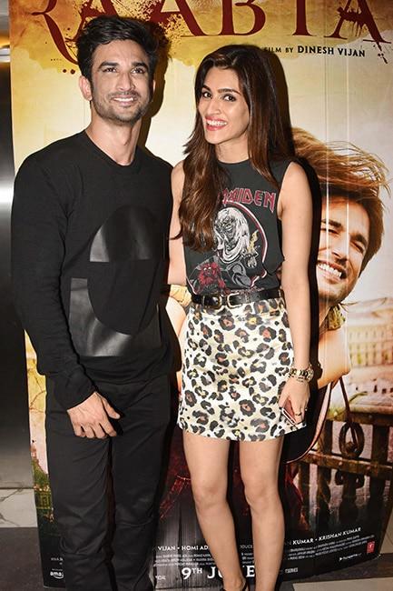 Kriti Sanon with Sushant Singh Rajput during Raabta screening