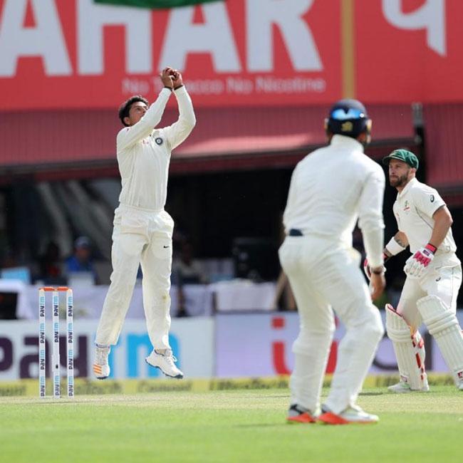 Kuldeep Yadav picks up his fourth wicket