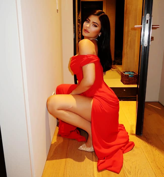 Kylie Jenner Goes Bold in Sultry Red Dress