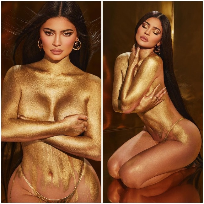 Kylie Jenner rocks her fabulous figure in just gold dust  poses nude for new photoshoot
