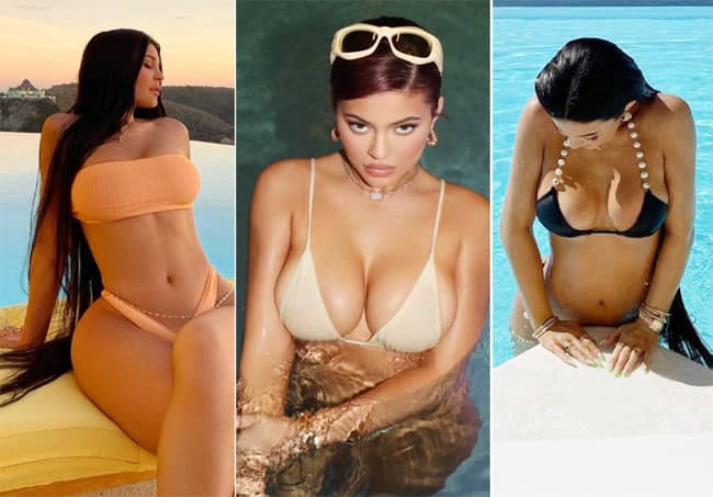 Kylie Jenner Shares Hot Pictures in Black Bikini As She Takes A Dip in The Pool
