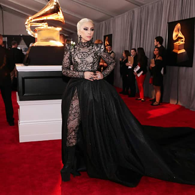 Lady Gaga at red carpet of 60th Grammy Awards