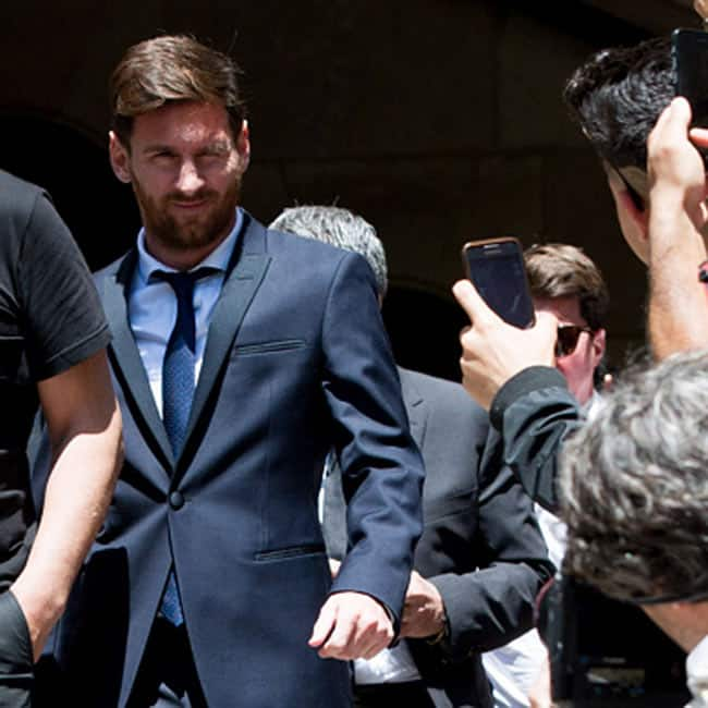 Lionel Messi and his father Jorge Messi clicked outside courthouse in Barcelona  Spain