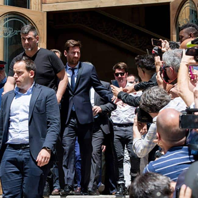 Lionel Messi and his father Jorge Messi while leaving courthouse in Barcelona  Spain