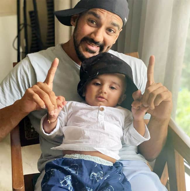 Little Aarav Poses With His Dad Rohit Reddy