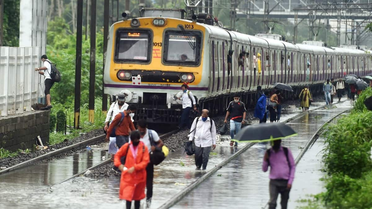 Local trains services hit  railway tracks waterlogged due to heavy rain