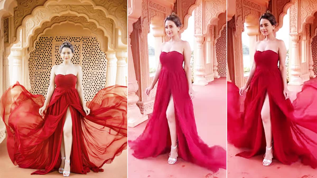 Madalsa Sharma Looks Burning Red Hot In Thigh High Slit Gown