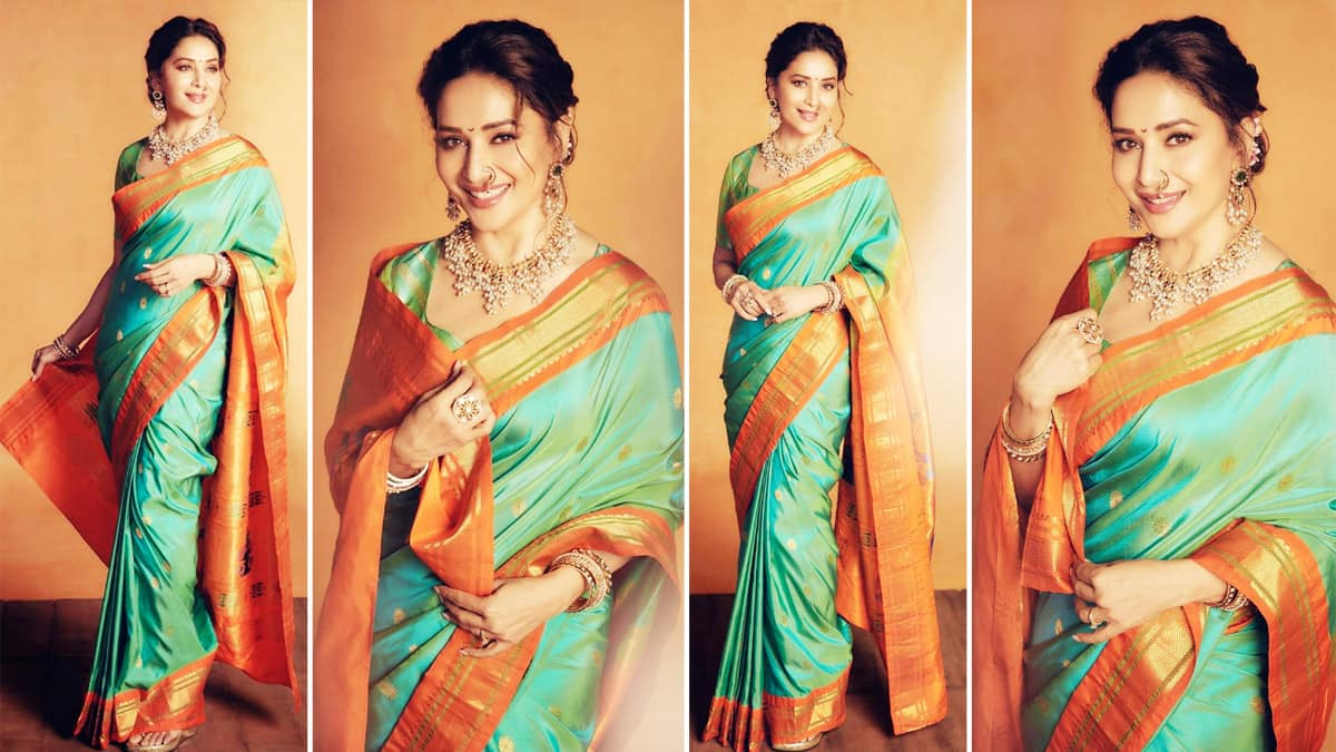 Madhuri Dixit is Graceful as Ever in a Teal And Orange Embroidered Silk Saree