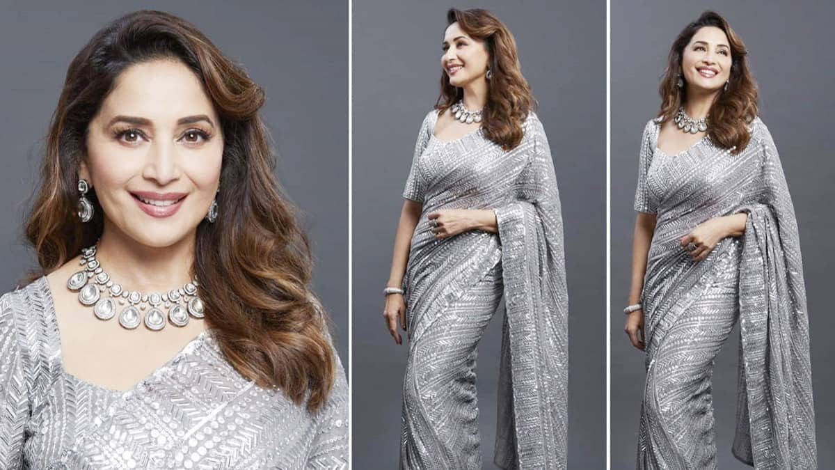 Madhuri Dixit looks fabulous in a metallic grey saree