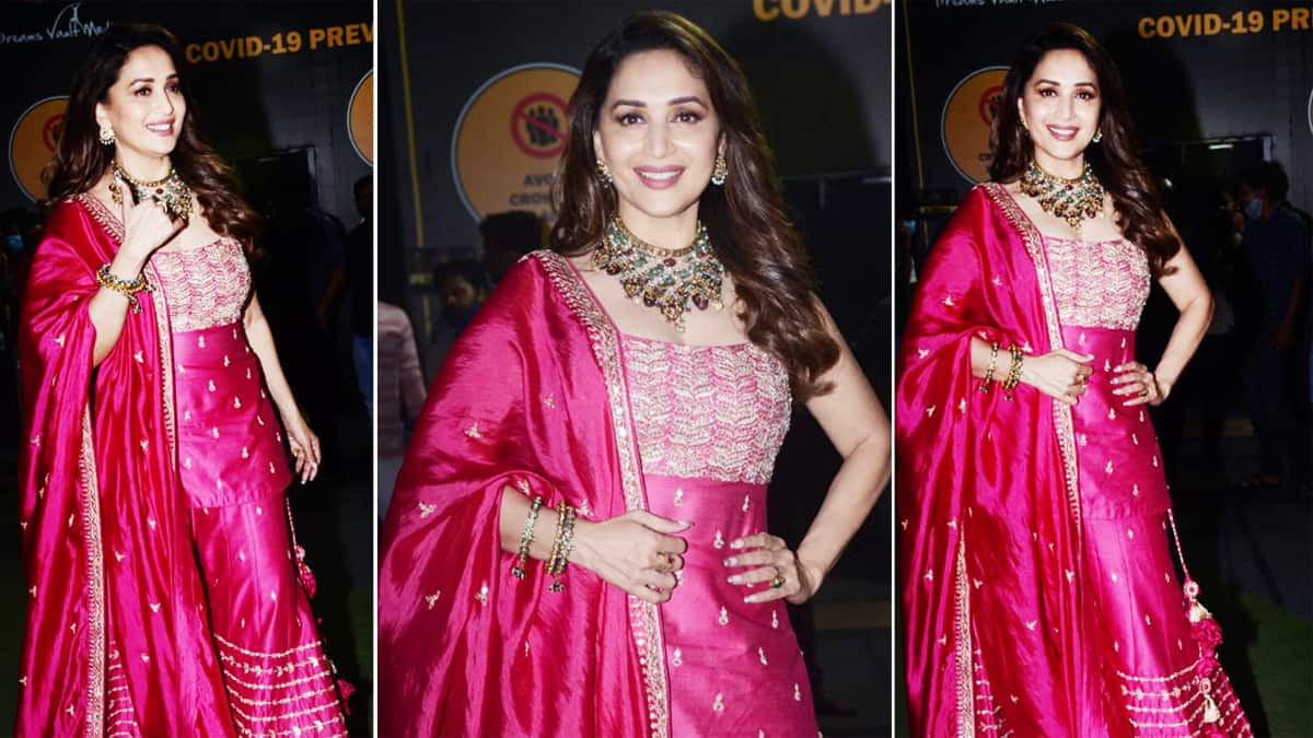 Madhuri Dixit sparkles her way into the hearts of audience in her Fuschia suit