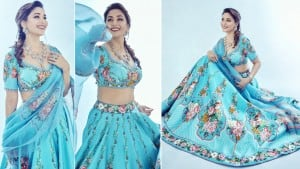 Madhuri Dixit Looks Unreal in Blue Lehenga, Takes us Back to Dil Toh Pagal Hai Days   See Pics