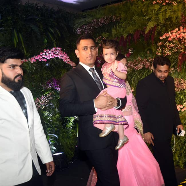 Mahendra Singh Dhoni with daughter Ziva at Virushka   s wedding reception