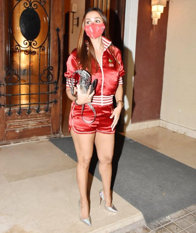 Malaika Arora rocks a sizzling figure in her red satin shorts