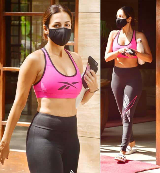 Malaika Arora was spotted in bright pink bra and tights in Mumbai
