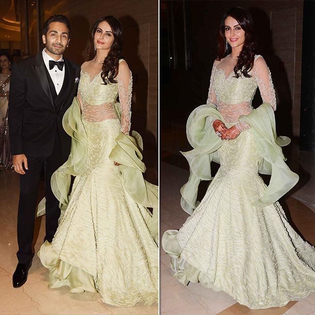Mandana Karimi with husband Gaurav Gupta during their reception ceremony