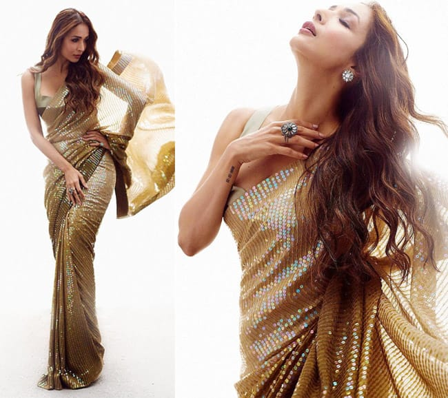 Manish Malhotra introduces new colour in sequin saree     ginger bronze