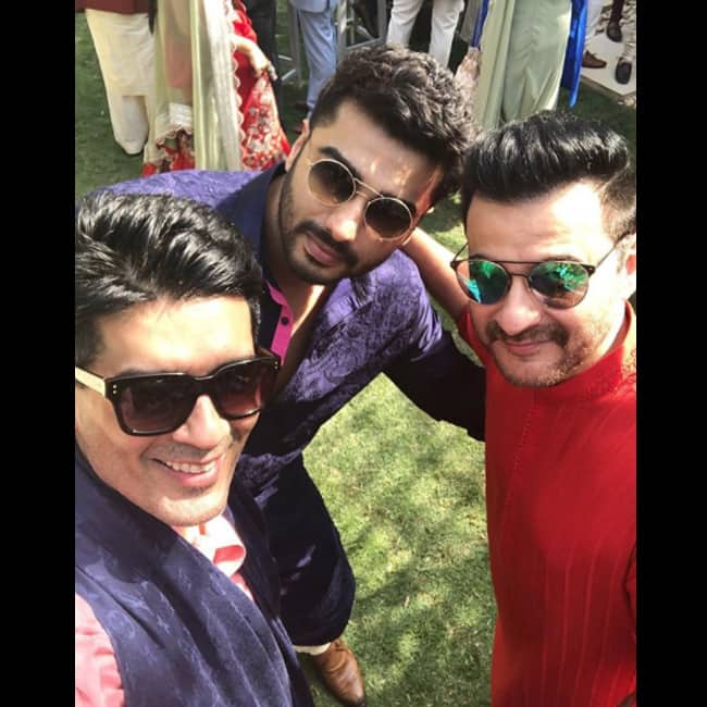 Manish Malhotra with Sajay Kapoor and Arjun Kapoor at Mohit Marwah   s sangeet ceremony