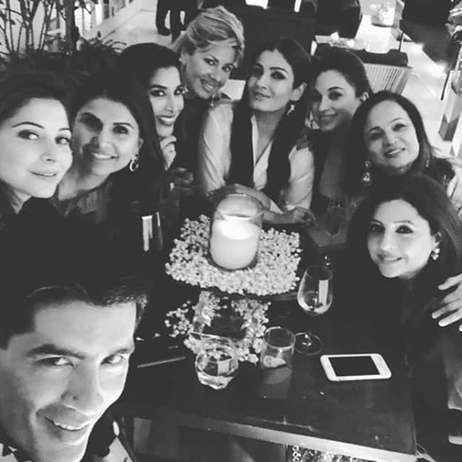 Manish Malhotra   s selfie with Raveena Tandon  Sophie Choudry at his house party