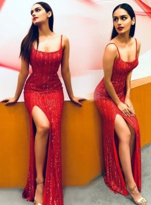 Manushi Chhillar in Sexy Orange Beaded Dress And Red Lips Will Make Your Tuesday Better