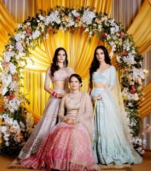 Manushi Chhillar Looks Breathtaking in Ice-blue Lehenga at Her Sister's Wedding
