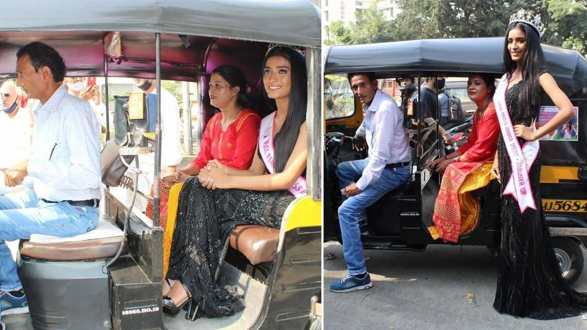 Manya Singh  Femina Miss India 2020 runner up comes in auto rickshaw