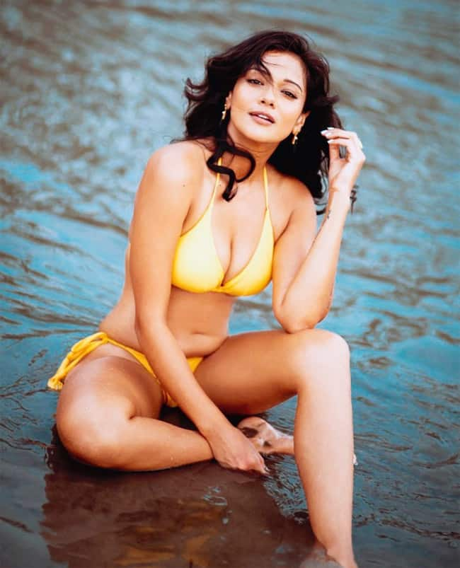 Megha Gupta Sizzles in Yellow Bikini on Beach