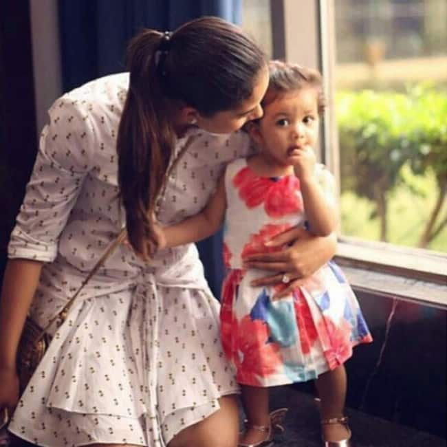 Misha Kapoor snapped in casual frock