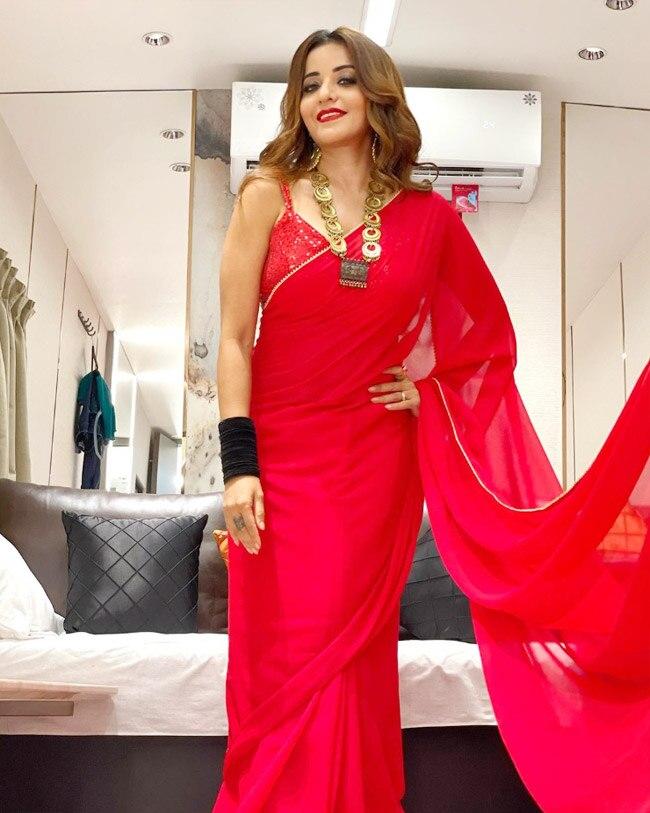 Monalisa accessorised the saree look with temple jewellery
