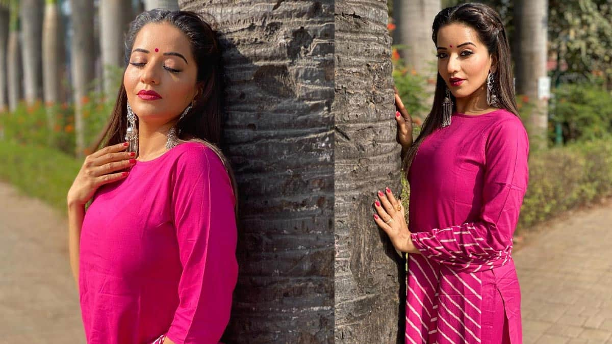Monalisa brushes aside Tuesday Blues in a Vibrant Pink Salwar Suit