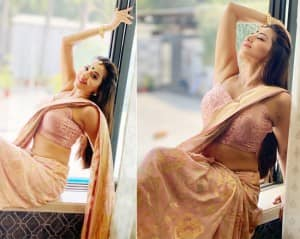 Monalisa Spreads The Sultry Magic of Her Adaayein in a Peach Saree - See Pics