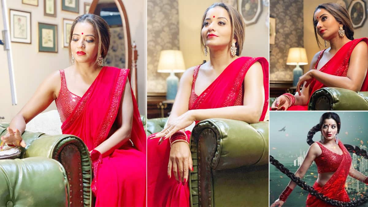 Monalisa Gives Sexy Vibes Dressed up in a Hot Red Saree