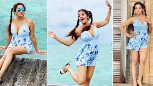 Hot Photos: Monalisa is Setting the Beach on Fire with her Gorgeous Blue Mini Jumpsuit