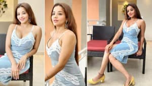 Monalisa Stuns in Blue Strappy Lace Dress Worth Rs 2799- You Like?